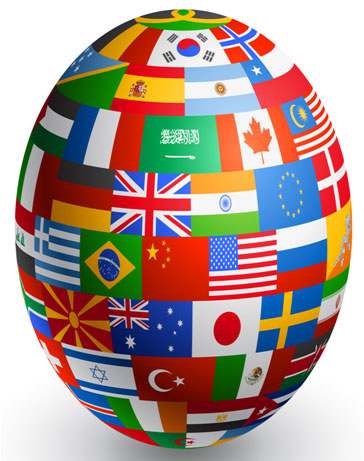 Stretched globe covered with national flags